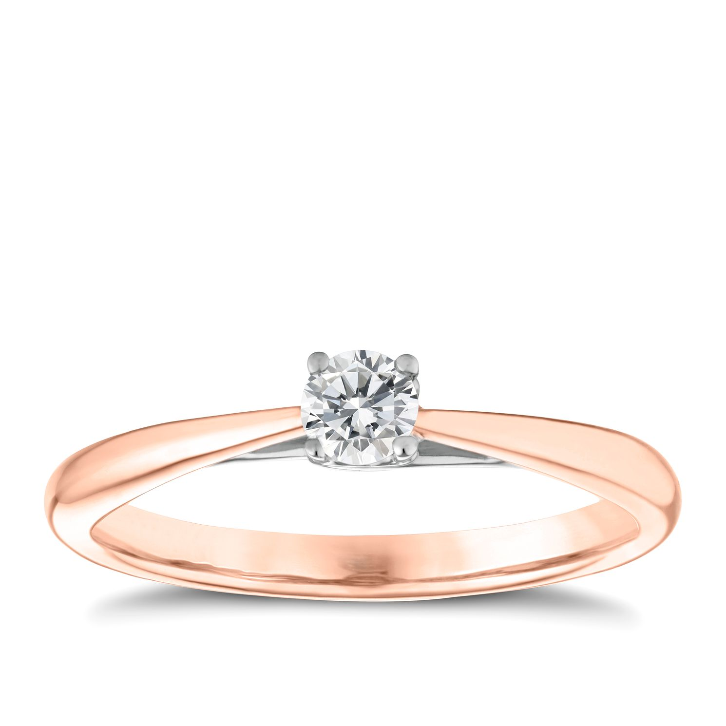 9ct Rose Gold 0.15ct Diamond Solitaire Ring - Product number 3631346