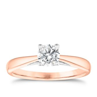 9ct Rose Gold 0.50ct Diamond Solitaire Ring - Product number 3631613