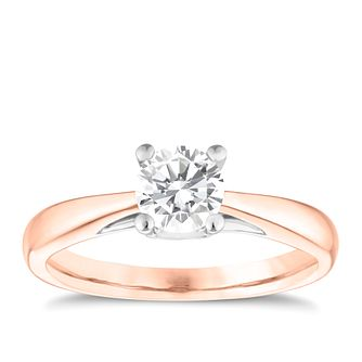 9ct Rose Gold 0.66ct Diamond Solitaire Ring - Product number 3631745