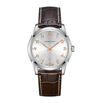 Hamilton Men's Stainless Steel Brown Leather Strap Watch - Product number 3631958