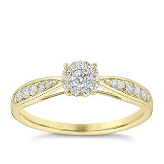 9ct Yellow Gold 0.25ct Halo Cluster Diamond Ring - Product number 3632199