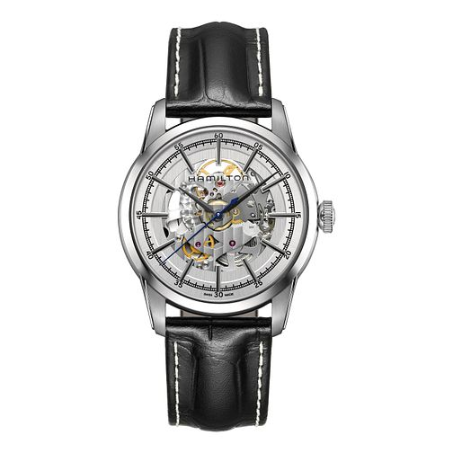 Hamilton Men's Stainless Steel Skeleton Leather Strap Watch - Product number 3632318