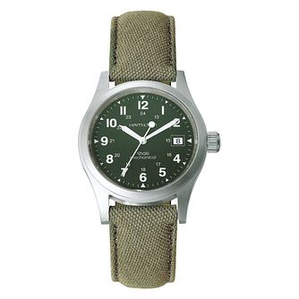 Hamilton Khaki Field men's stainless steel green strap watch - Product number 3632512