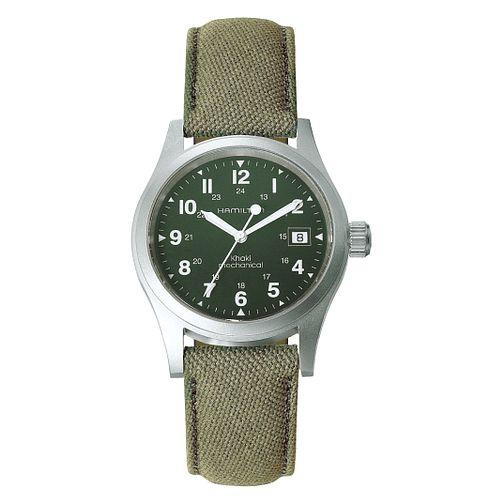 Hamilton Khaki Field Men S Stainless Steel Green Strap Watch