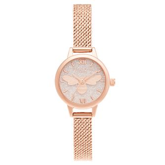Olivia Burton Glitter Bee Rose Gold Tone Bracelet Watch - Product number 3632563
