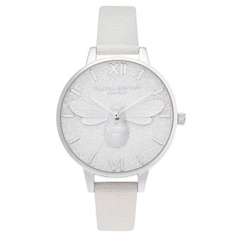 Olivia Burton Glitter Bee White Leather Strap Watch - Product number 3632601