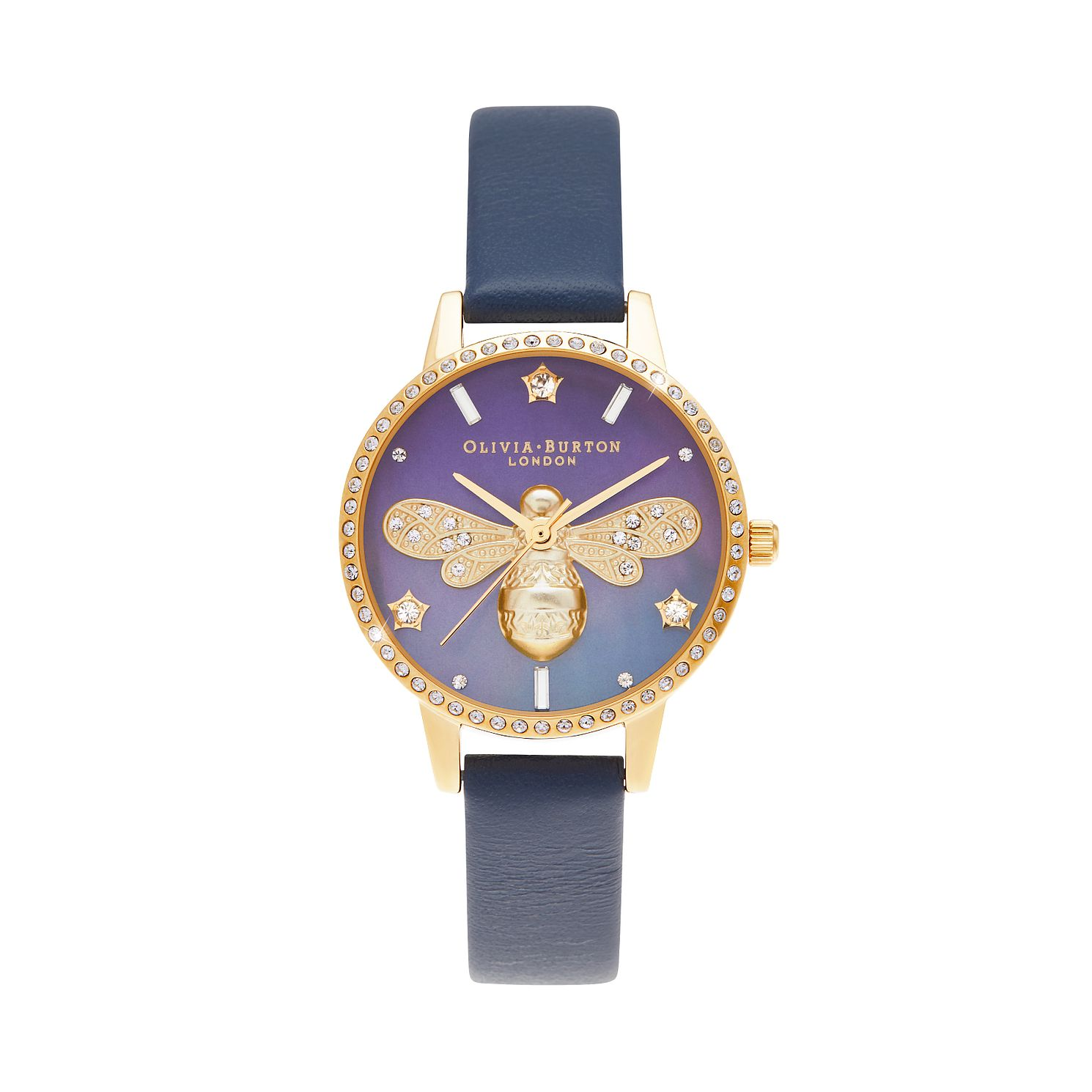 Olivia Burton Sparkle Bee Blue Leather Strap Watch - Product number 3632628