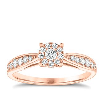 9ct Rose Gold 0.33ct Diamond Halo Cluster Ring - Product number 3632792