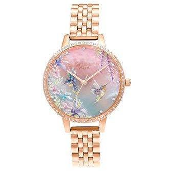 Olivia Burton Painterly Prints Rose Gold Tone Bracelet Watch - Product number 3632873