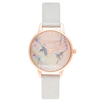 Olivia Burton Painterly Prints Pink Leather Strap Watch - Product number 3633349