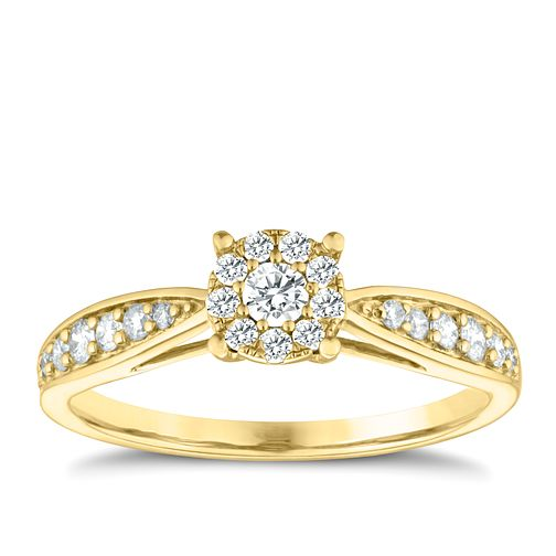 9ct Yellow Gold 0.33ct Diamond Halo Cluster Ring - Product number 3634043
