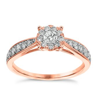 9ct Rose Gold 0.50ct Diamond Halo Cluster Ring - Product number 3634582