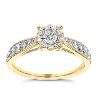 9ct Yellow Gold 0.50ct Diamond Halo Cluster Ring - Product number 3634787