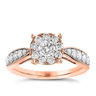 9ct Rose Gold 0.75ct Halo Diamond Ring - Product number 3634914