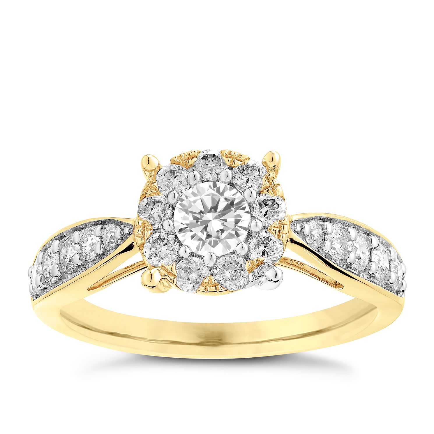 9ct Yellow Gold 0.75ct Halo Diamond Ring - Product number 3635279