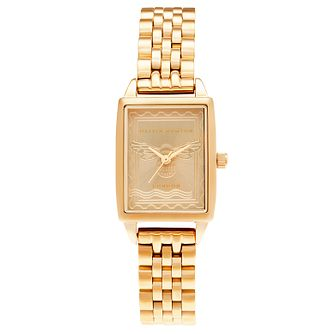 Olivia Burton London Stamp Yellow Gold Tone Bracelet Watch - Product number 3635503