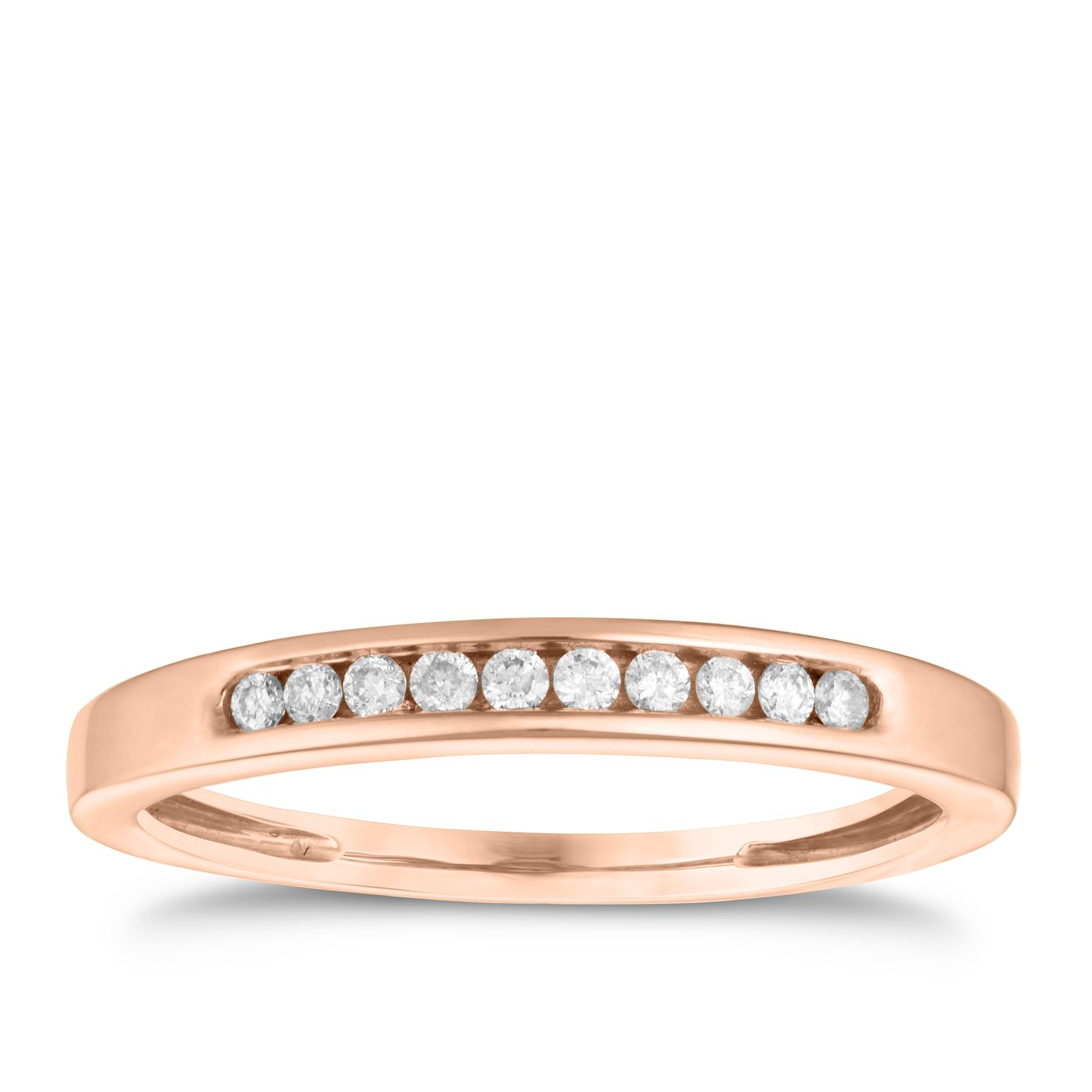 9ct Rose Gold Diamond Eternity Ring - Product number 3635538