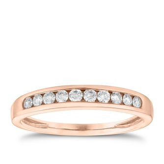 9ct Rose Gold 0.25ct Diamond Channel Set Eternity Ring - Product number 3636496