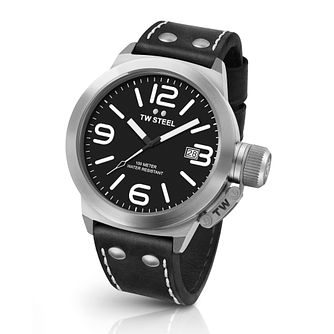 Tw Steel Canteen Men's Stainless Steel Black Strap Watch - Product number 3638928