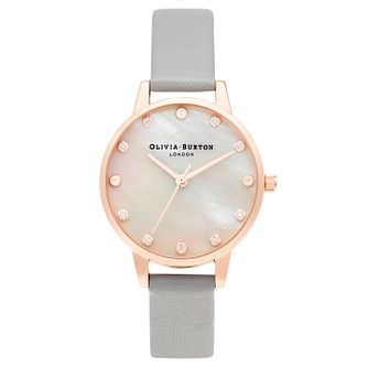 Olivia Burton Classic Ladies' Grey Leather Strap Watch - Product number 3640124