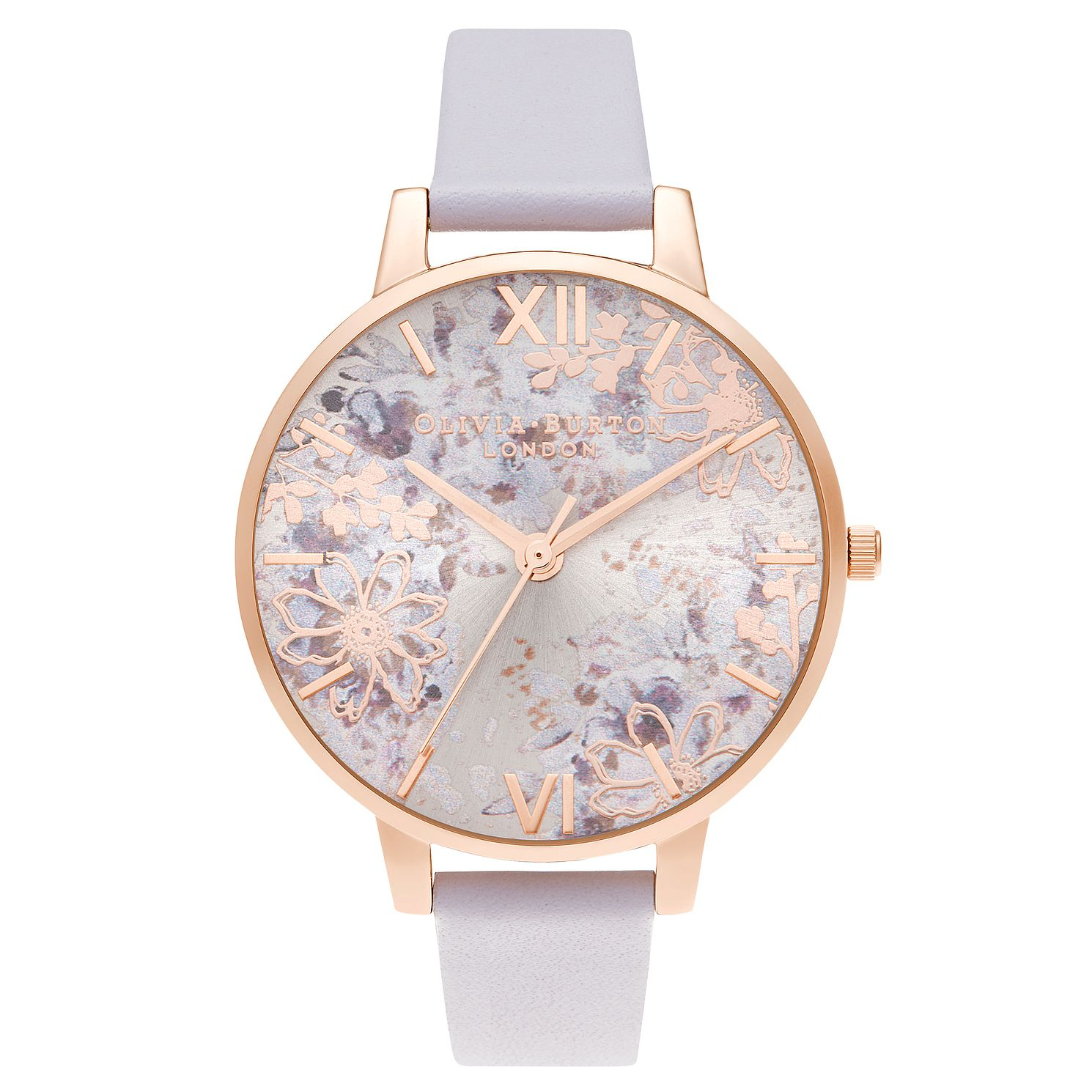 Olivia Burton Abstract Floral Purple Leather Strap Watch - Product number 3640248