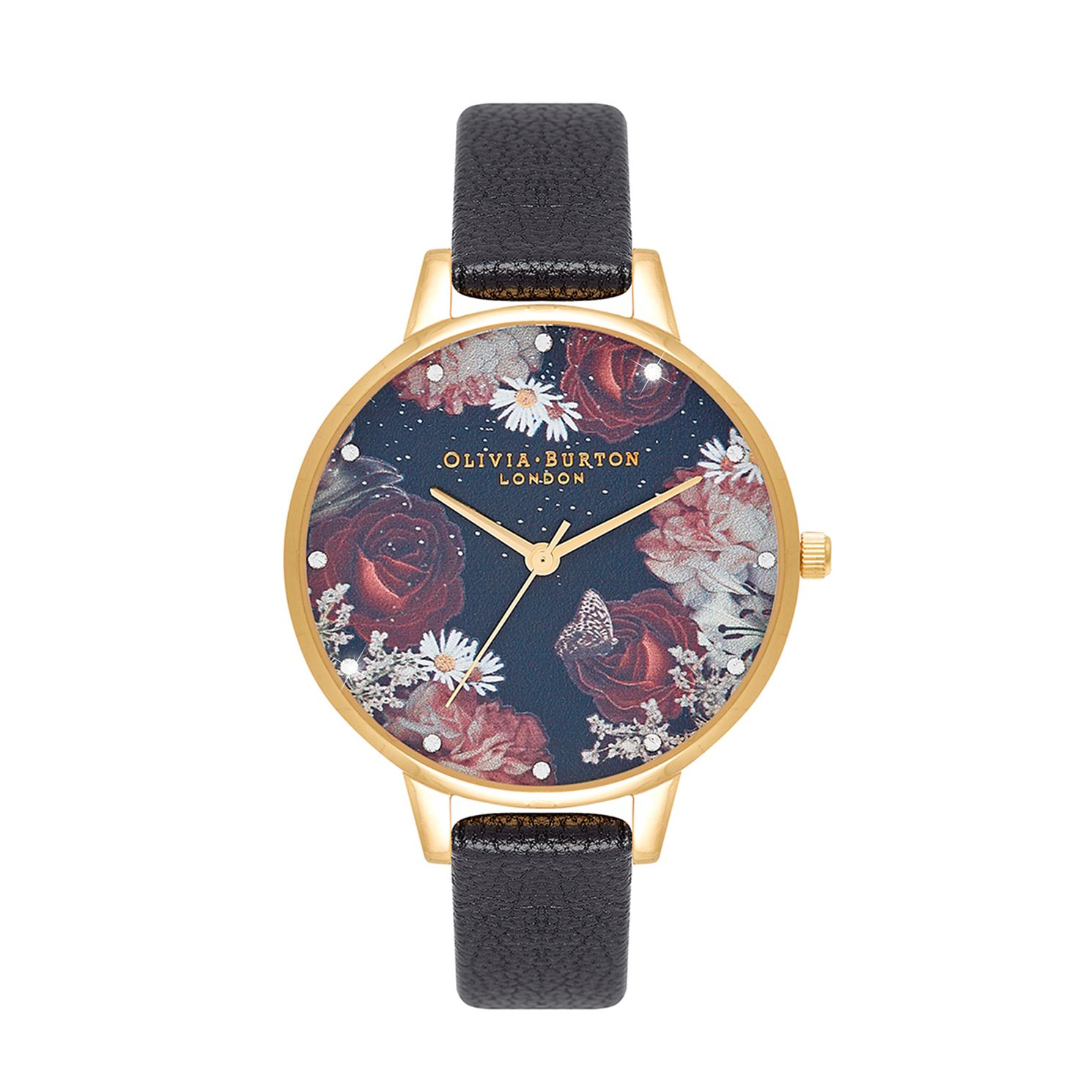Olivia Burton Winter Bloom Black Leather Strap Watch - Product number 3640418