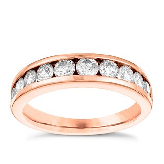 18ct Rose Gold One Carat Diamond Eternity Ring - Product number 3642534