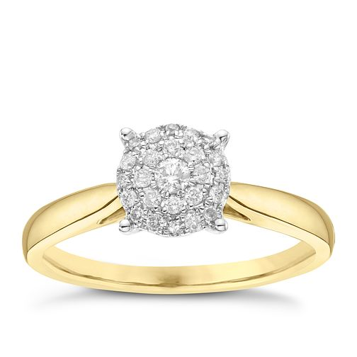 18ct Yellow Gold 0.15ct Diamond Round Cluster Ring - Product number 3643743