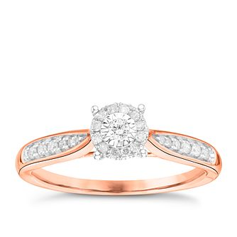 9ct Rose Gold 0.15ct Diamond Illusion Set Halo Cluster Ring - Product number 3645835