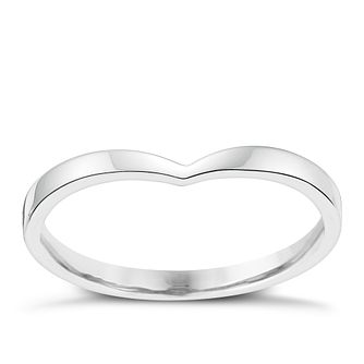 Ladies' 18ct White Gold Shaped Slim Wedding Ring - Product number 3647854