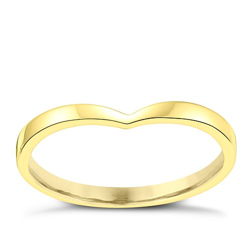 Ladies' 18ct Yellow Gold Shaped Slim Wedding Ring - Product number 3648109