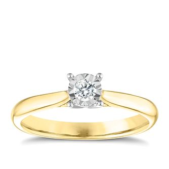 9ct Yellow Gold Diamond Illusion Set Solitaire Ring - Product number 3649962