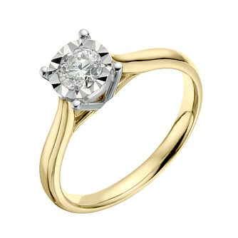 9ct Yellow Gold 0.40ct Illusion Set Diamond Ring - Product number 3651304