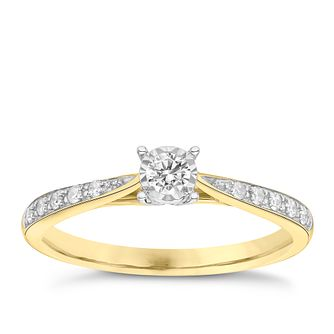 9ct Yellow Gold 0.16ct Diamond Ring - Product number 3652769