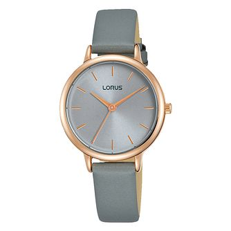 Lorus Ladies' Rose Gold Plated Grey Leather Strap Watch - Product number 3654095