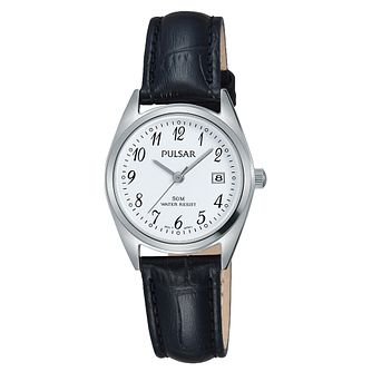 Pulsar Ladies' Black Leather Strap Watch - Product number 3654311