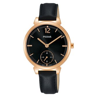 Pulsar Ladies' Rose Gold Plated Black Leather Strap Watch - Product number 3654400