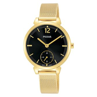 Pulsar Ladies' Black Dial Gold Plated Bracelet Watch - Product number 3654419