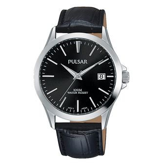 Pulsar Men's Black Dial Black Leather Strap Watch - Product number 3654443