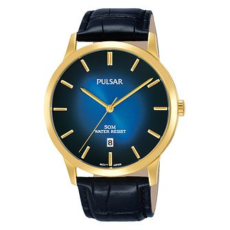 Pulsar Men's Gold Plated Black Strap Watch - Product number 3654451