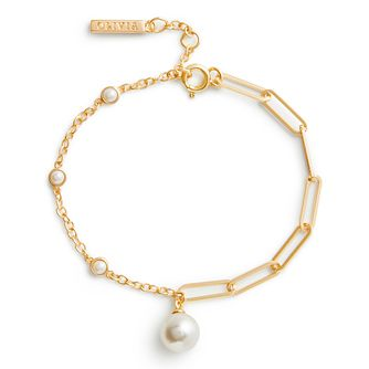 Olivia Burton Classic Yellow Gold Tone Faux Pearl Bracelet - Product number 3655091