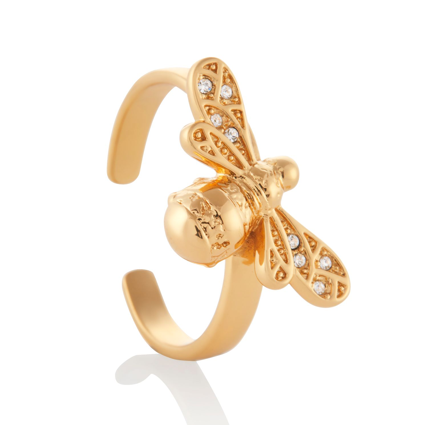 Olivia Burton Sparkle Bee Yellow Gold Tone & Crystal Ring - Product number 3655105