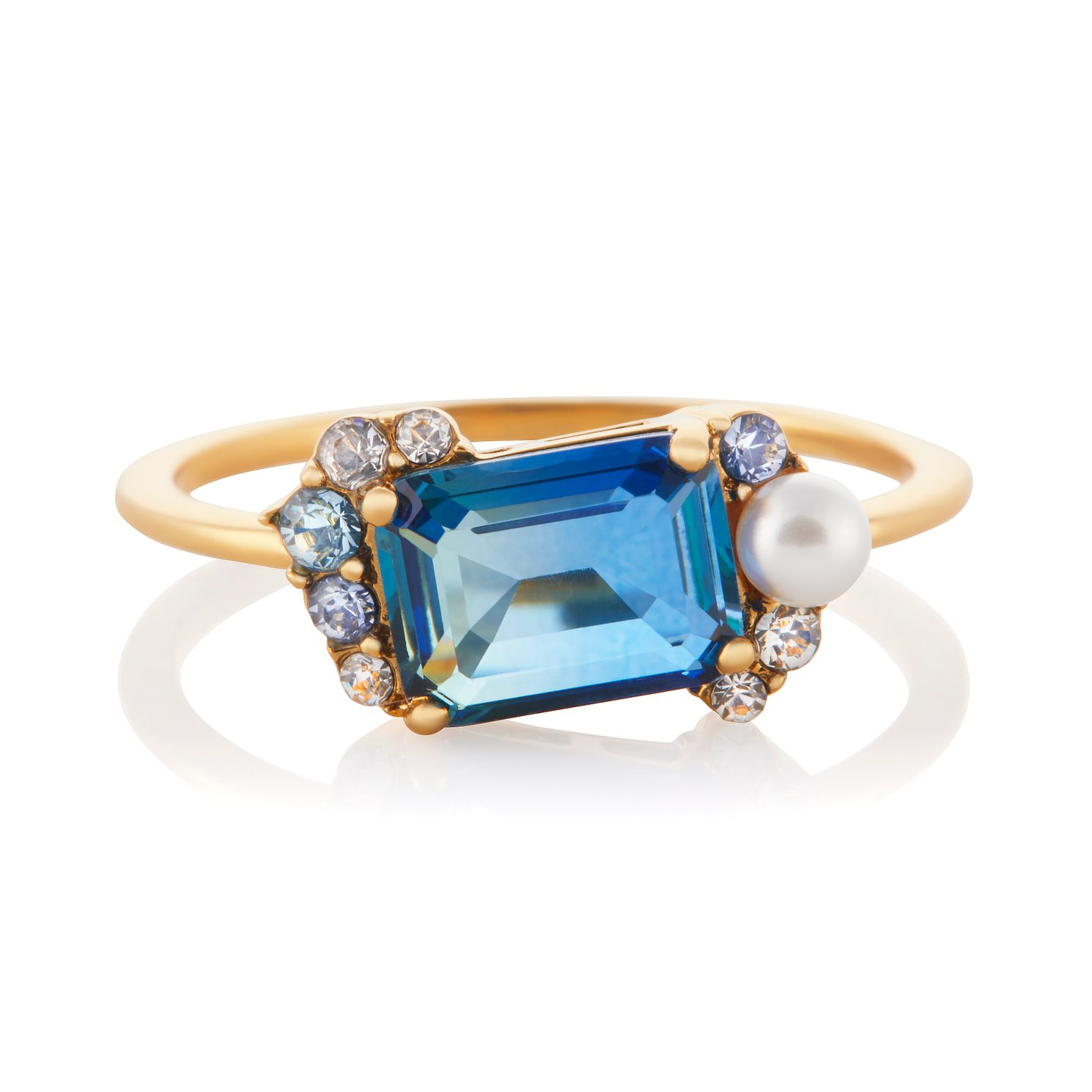 Olivia Burton Crystal Bubble Yellow Gold Tone Ring - Size M - Product number 3655156