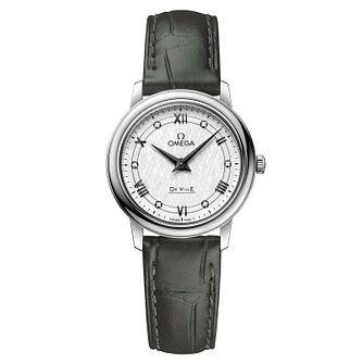 Omega De Ville Ladies' Dark Green Leather Strap Watch - Product number 3657566