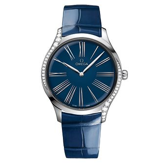Omega De Ville Tresor Ladies' Blue Leather Strap Watch - Product number 3657620