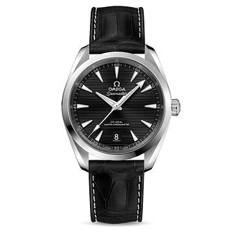 Omega Seamaster Aqua Terra Men's Black Leather Strap Watch - Product number 3657639