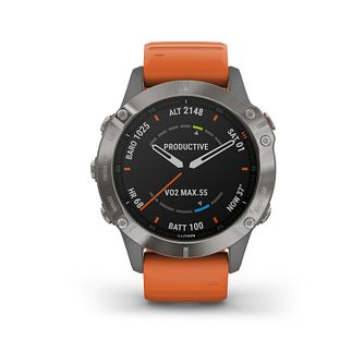 Garmin fenix 6 Sapphire Orange Silicone Strap Watch - Product number 3658074