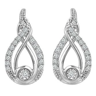 Interwoven Ladies' Sterling Silver 0.12ct Diamond Earrings - Product number 3658627