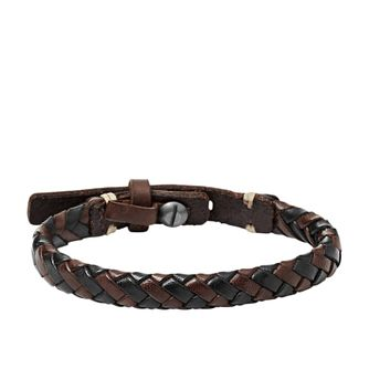 Fossil Men's Brown & Black Leather Braided Bracelet - Product number 3663035