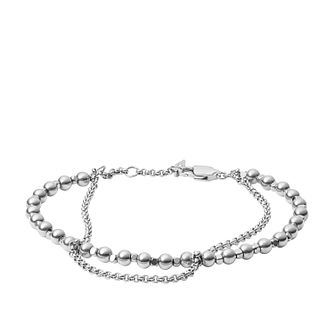 Fossil Ladies' Multi Beaded Silver Tone Bracelet - Product number 3663094